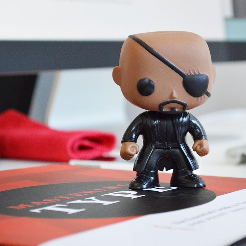 Nick Fury at the Heavy Heavy office