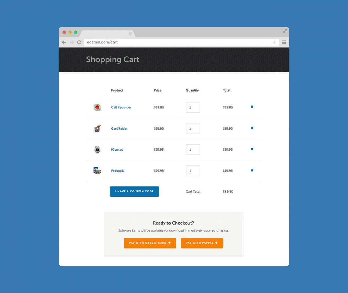 Ecamm Website by Heavy Heavy – Shopping Cart (Browser Screenshot)