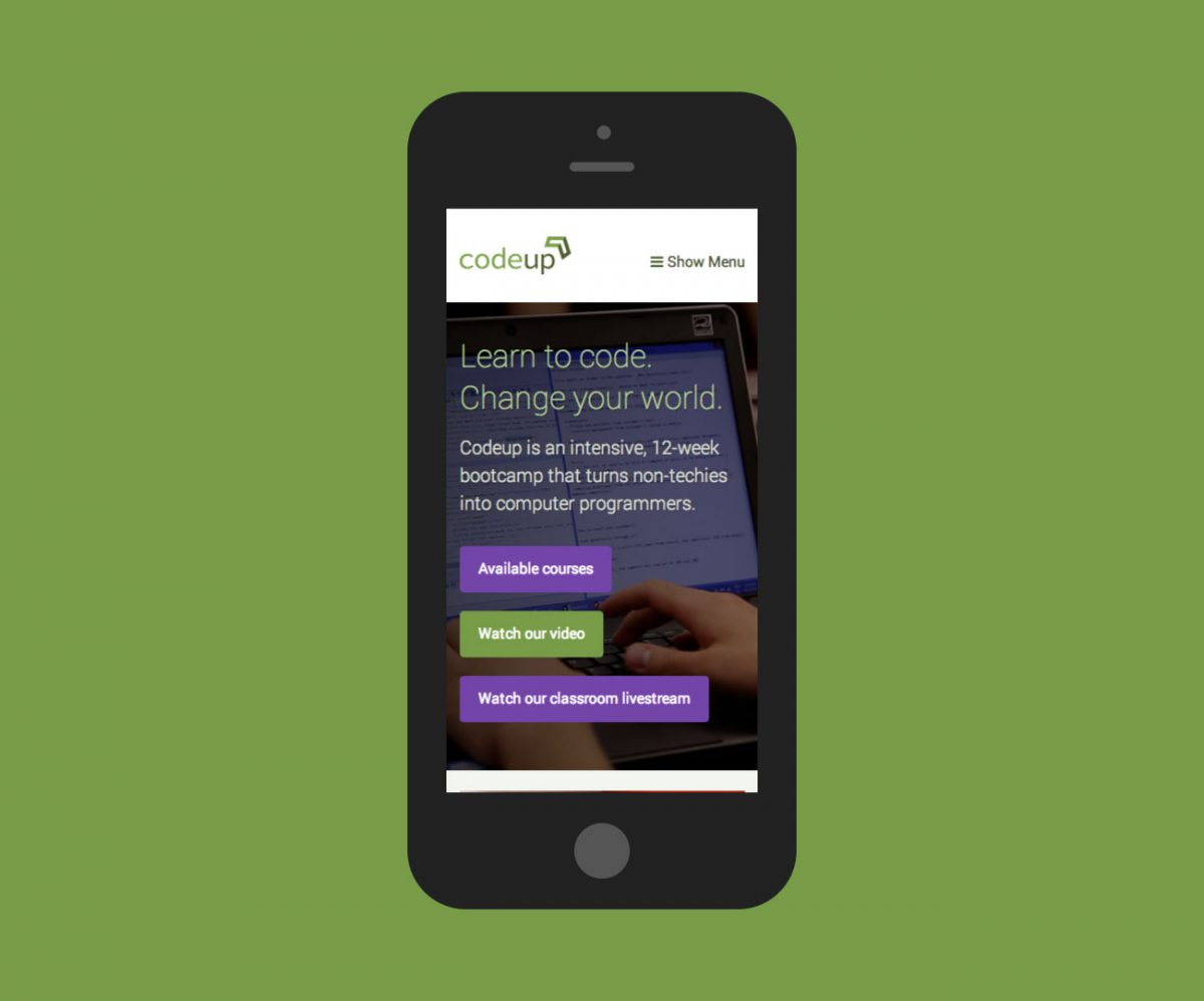 Codeup Website by Heavy Heavy (Smartphone Screenshot)